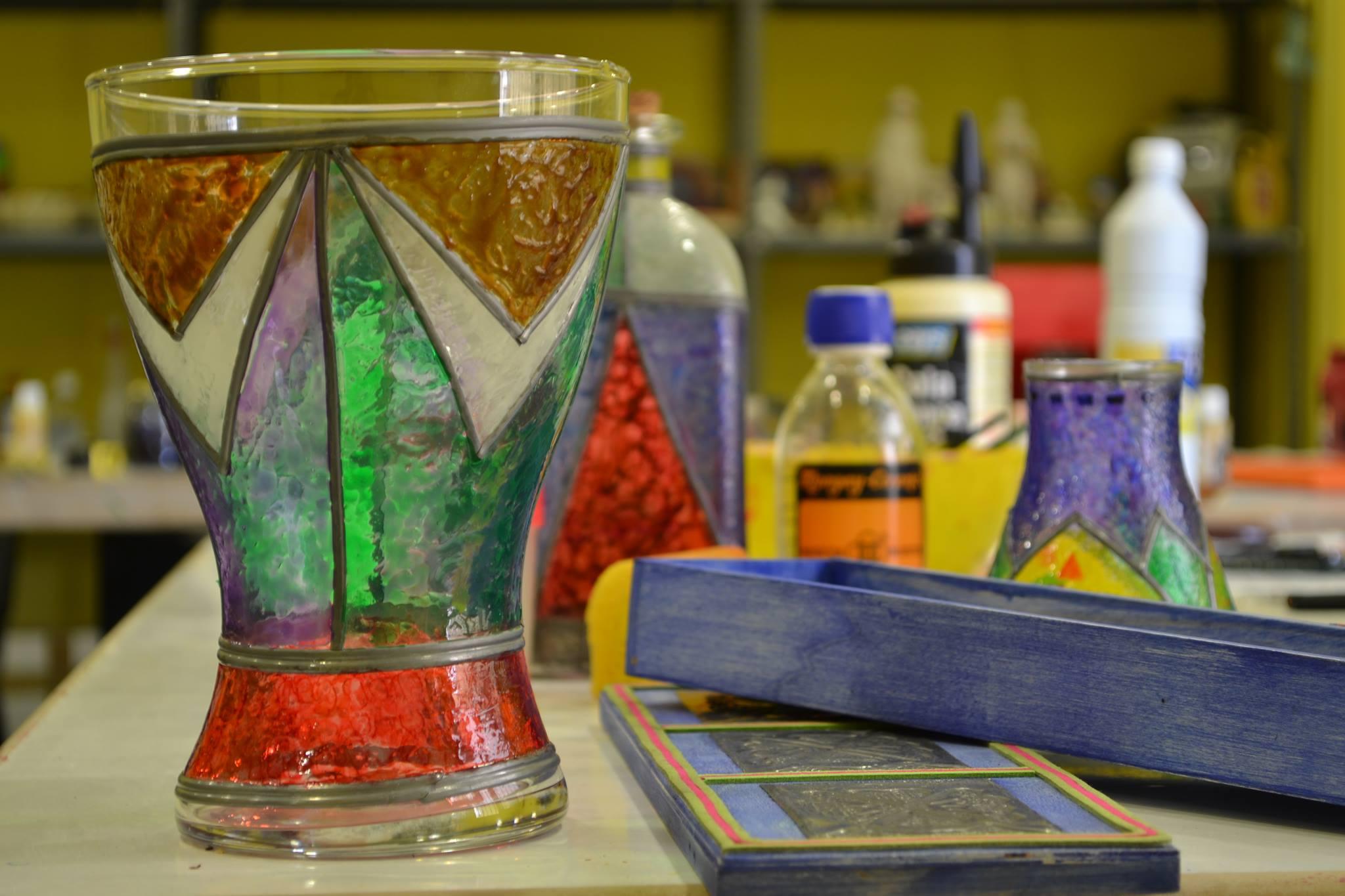 Jarrón de Cristal decorado